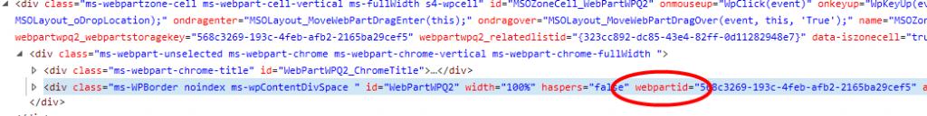 ExportWPWebPartId