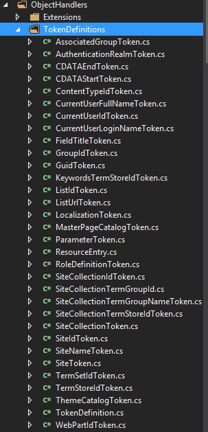 PnP Extensibility Handler - list of tokendefinitions