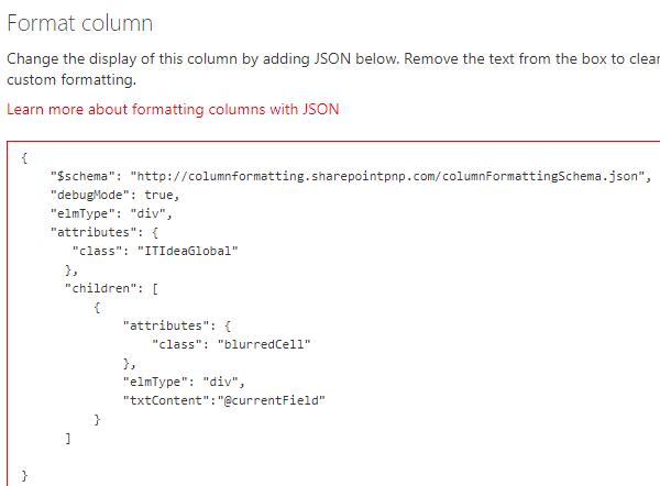 SPFx Column formatting using JSON – blur field | IT-Idea